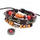 Unisex Red Bead Pendant Bracelet Surfer Tribal Cuff Handmade Bangle Beads Wristband