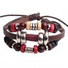 Unisex Beads Leather Pendant Bracelet Surfer Tribal Cuff Handmade Bangle Beads Wristband