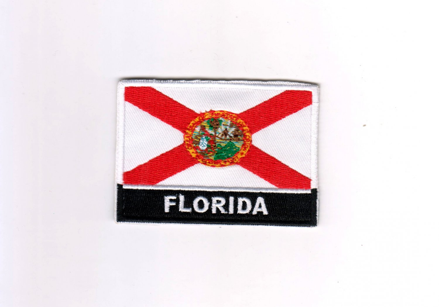Florida USA State United States MultiColor Flag Logo Embroidered Iron On Backing Heat Seal Patch