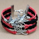 Infinity Birds Tree Charm Leather Bracelet Women Fashion Cord Chain Pendant Wristband Cuff