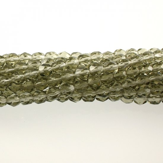 4mm Round Faceted Czech Glass Beads - Black Diamond