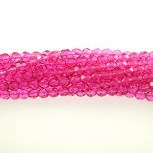 4mm Round Faceted Czech Glass Beads - Coated Dark Pink