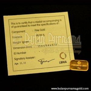 Gold Bullion Bar 2 gr 99.99%  with certificate
