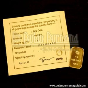 Gold Bullion Bar 5 gr 99.99%  with certificate