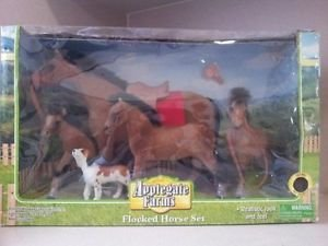 Applegate Farms Flocked Horse with Dog Set NEW