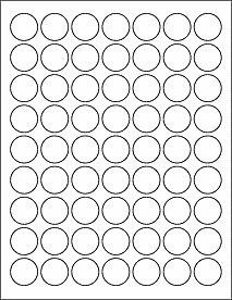 "(126) 1"" Round Labels BLANK"