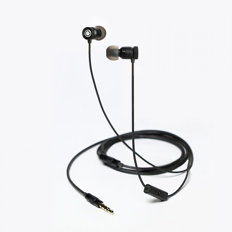 Stylish Metal Stereo Universal Earbuds w/ Mic (Black) [TD23731A]