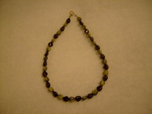 Burgundy and Gold Swirl Necklace