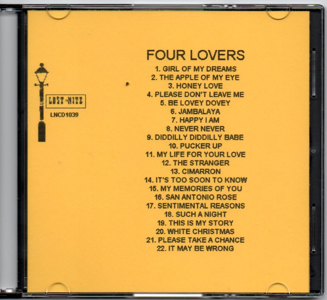 THE FOUR LOVERS DOO WOP CD LOST NITE RECORDS