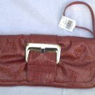 Faux Patent Leather Red Croc Clutch Purse Handbag