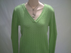 TALBOTs Green Flat Cable Knit Sweater Top Size S
