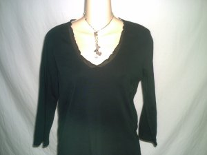 BANANA REPUBLIC Black Laced V Neck Knit Top Size M
