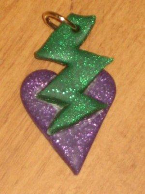 "16"" Purple and Green Lightning Bolt Over Star"