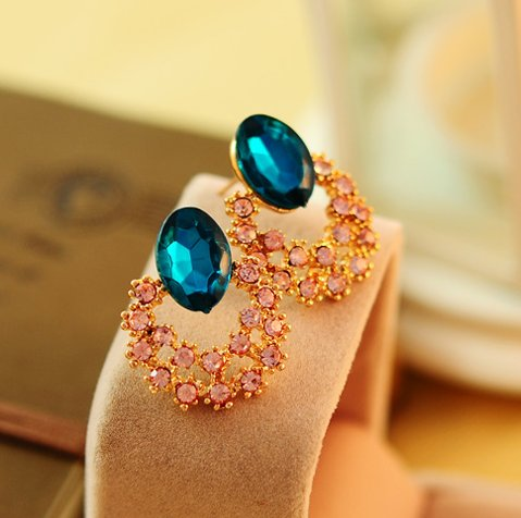 Blue crystal gem diamond earrings Korea