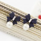 Korean OL retro pearl bow full of diamond stud earrings