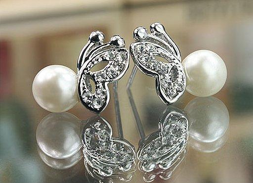 Butterfly pearl diamond earrings