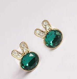 Rabbit Diamond Crystal diamond stud earrings Bow