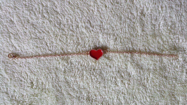 Korean jewelry delicate peach heart Bracelet red