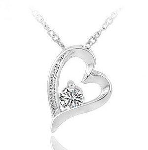 Zircon crystal heart-shaped Pendants necklace rhodium Swiss Diamond Hearts and Arrows