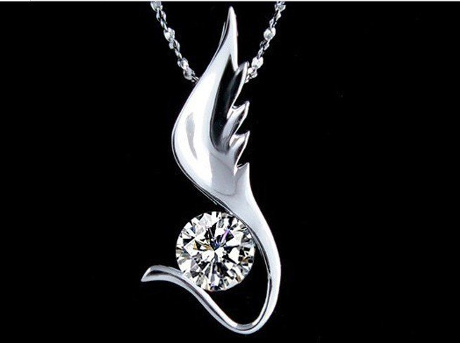 Zircon crystal Pendants necklace pendant rhodium flying Swiss Diamond
