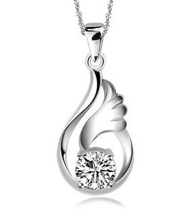 Zircon Necklace Pendant Angel Love Women rhodium Swiss Diamond Crystal Pendants