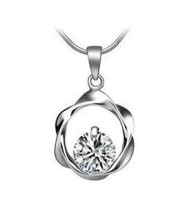 Zircon white diamond circle necklace pendant crystal rhodium Swiss Diamond Hearts and Arrows