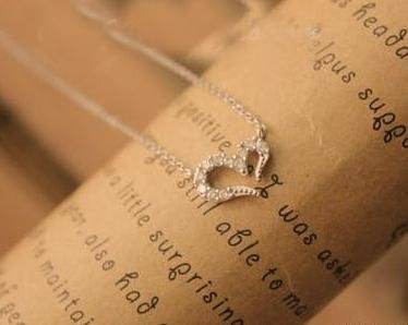 Wishing diamond necklace full of love sliver
