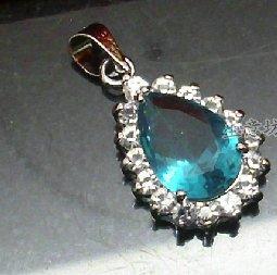 Peacock blue crystal droplets full of diamond pendant necklace diamond pendant rhodium