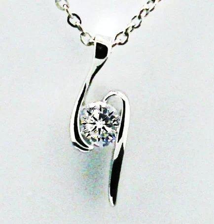 Zircon Hearts and Arrows diamond pendant crystal rhodium Switzerland