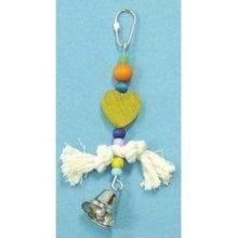 Bird Brianers Bird Toy w/ Rope Beads, Red Heart & Bell