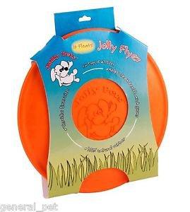 Jolly Flyer Rubber Dog Frisbee 9.5 inch Orange