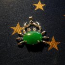 18K White Gold Plated Jade Crab Pendant