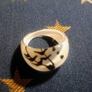 Size 6.5 White Plastic Abstract Ring
