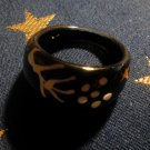 """Size 6.5 Black Plastic """"Full Flower"""" Ring"""