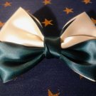 Emerald Green and Pearl White Hair Bow Clip