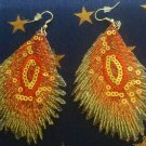 Red Threaded Peacock Feather Earrings