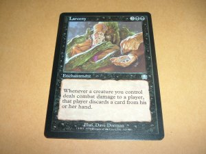 Larceny (Magic MTG: Mercadian Masques Card #143) UNPLAYED Black Uncommon, for sale