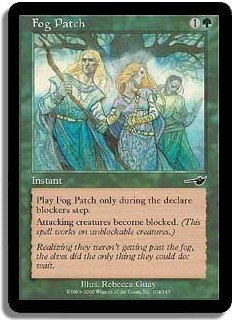 Fog Patch, BLOCKS ATTACKERS (Magic The Gathering Nemesis Card #104) UNPLAYED Green Common for sale