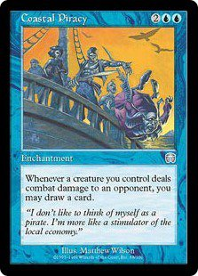 Coastal Piracy (Magic MTG: Mercadian Masques Card #68) lightly played Blue Uncommon, for sale