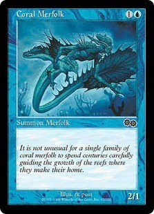 Coral Merfolk (Magic MTG: Urza's Saga Card #67) Blue Common, for sale