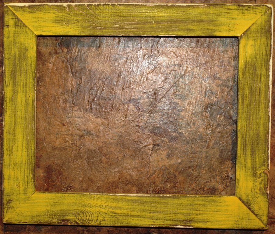 """16 x 16 1-1/2"""" Yellow Distressed Picture Frame"""