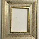 "8-1/2 x 11 2-1/4"" White w/Gold Lip Picture Frame"