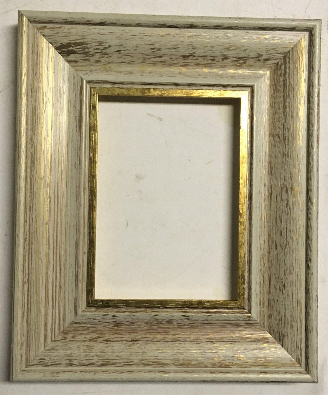 "16 x 16 2-1/4"" White w/Gold Lip Picture Frame"