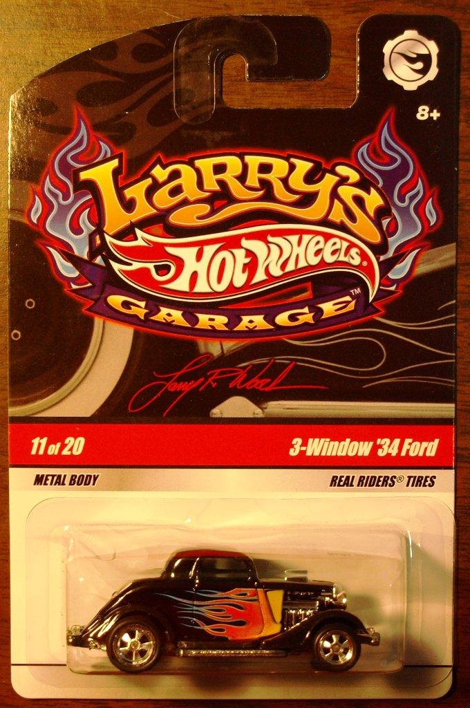 2009 Hot Wheels Larry's Garage #11 3 Window 34 Ford BLACK