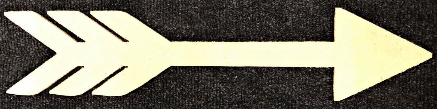 """2.6"""" x 12"""" - Arrow - 1/4""""Thick MDF Cut Out Made in the USA"""