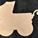 """4.9"""" x 6"""" - Baby Carriage - 1/4""""Thick MDF Cut Out Made in the USA"""