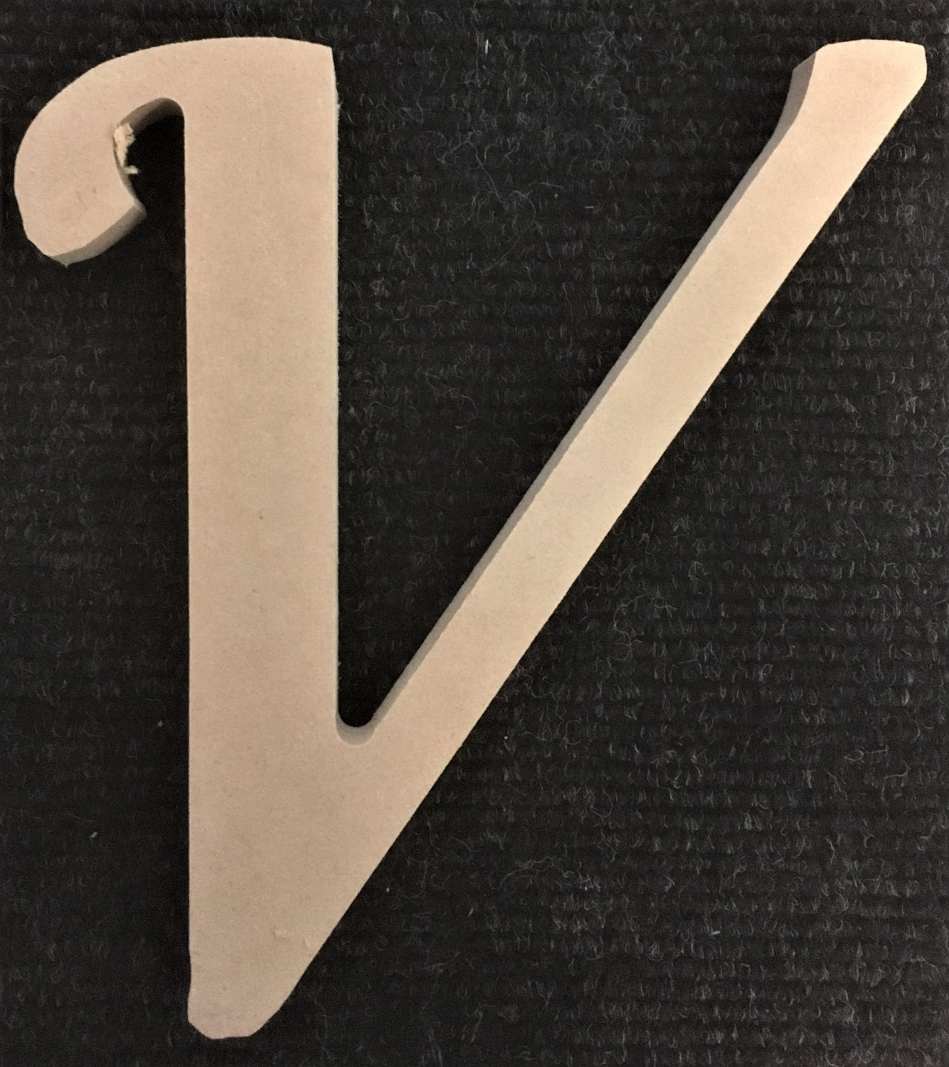 """12"""" Tall - Fancy 1 - 1/2""""Thick MDF Letter """"V"""" Cut Out Made in the USA"""