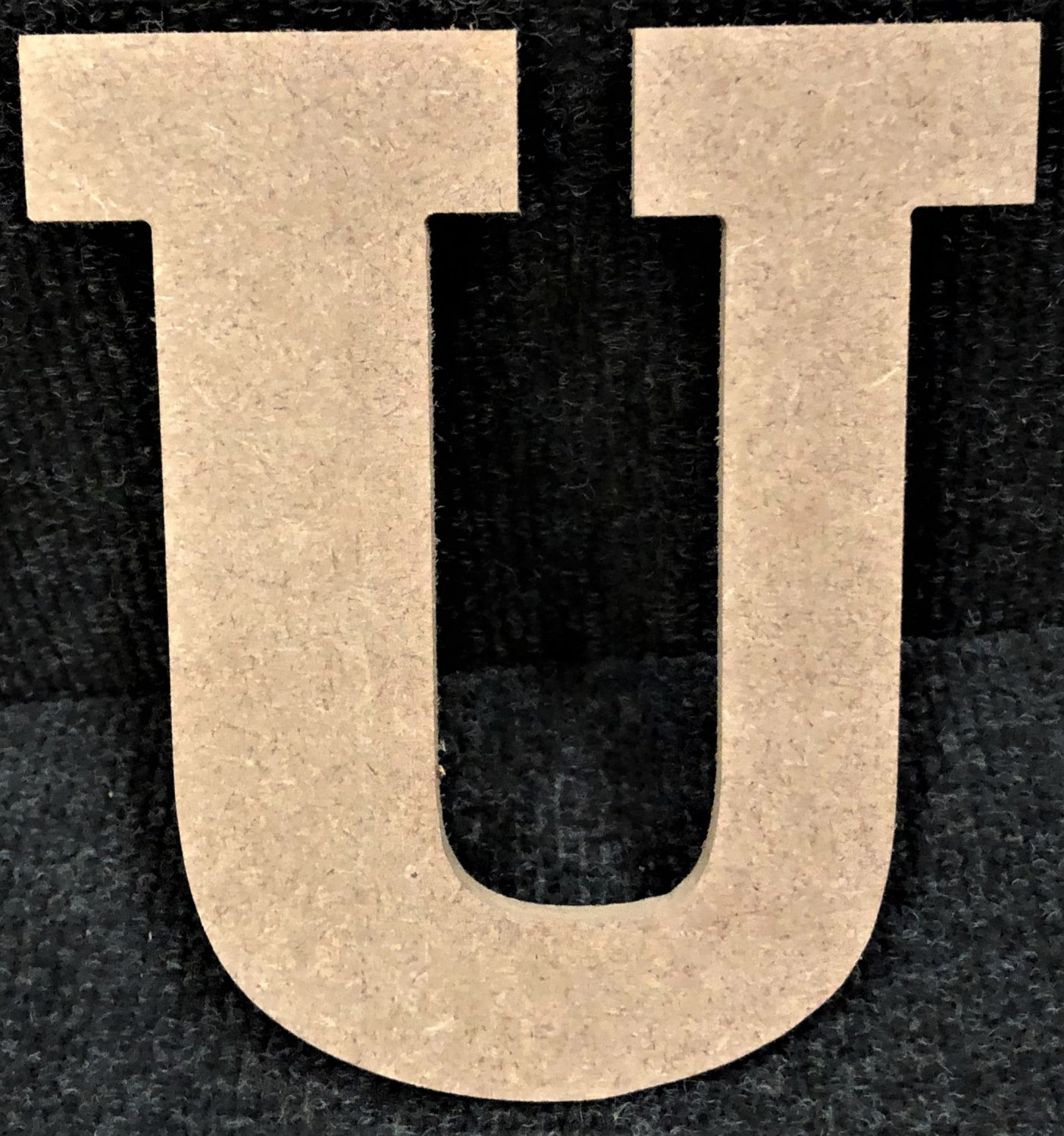 "12"" Tall - Rockwell - 1/2""Thick MDF Letter ""U"" Cut Out Made in the USA"