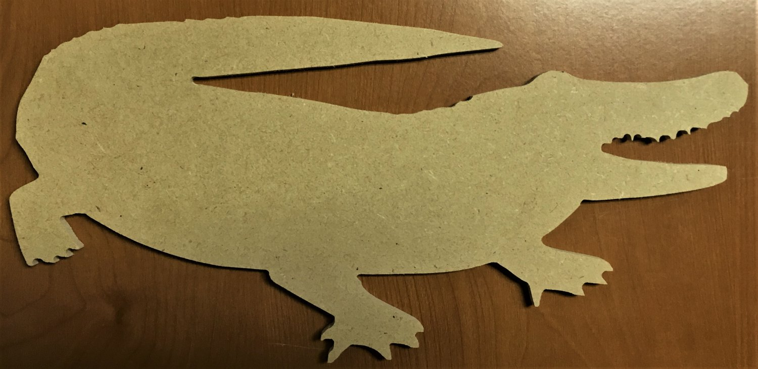 "6"" x 2.9"" - Alligator 1 - 1/4""Thick MDF Cut Out Made in the USA"