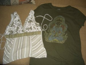 Green Old Navy Buddha Shirt Large